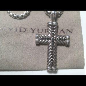 David Yurman Large Size Cross with Black Diamonds